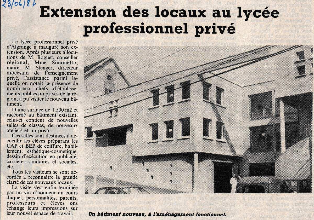 Extension du L.E.P. d'Algrange en 1987