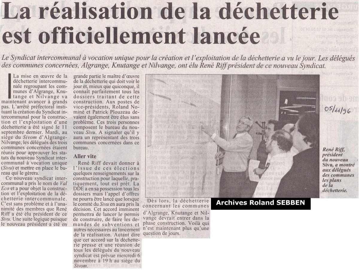 La déchetterie à Algrange est lancée en 1996