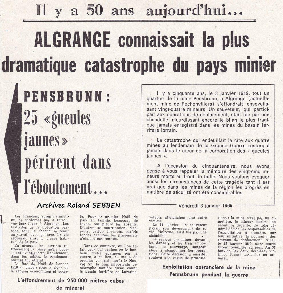 Article du Républicain Lorrain du 3 janvier 1969 pour le 50ème anniversaire de la catastrophe