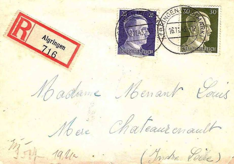 """Lettre recommandée du 16 novembre 1943 avec Algringen (Westmark) et la lettre """"a"""" en bas"""