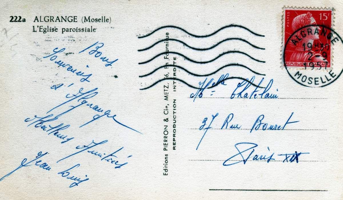 Carte expédiée le 2 septembre 1957