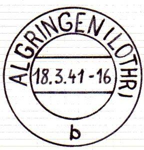 """Lettre du 22 avril 1941 avec """"b"""" en bas du cachet. Le texte qui était en français a été surchargé d'un dessin et réimprimé en allemand"""