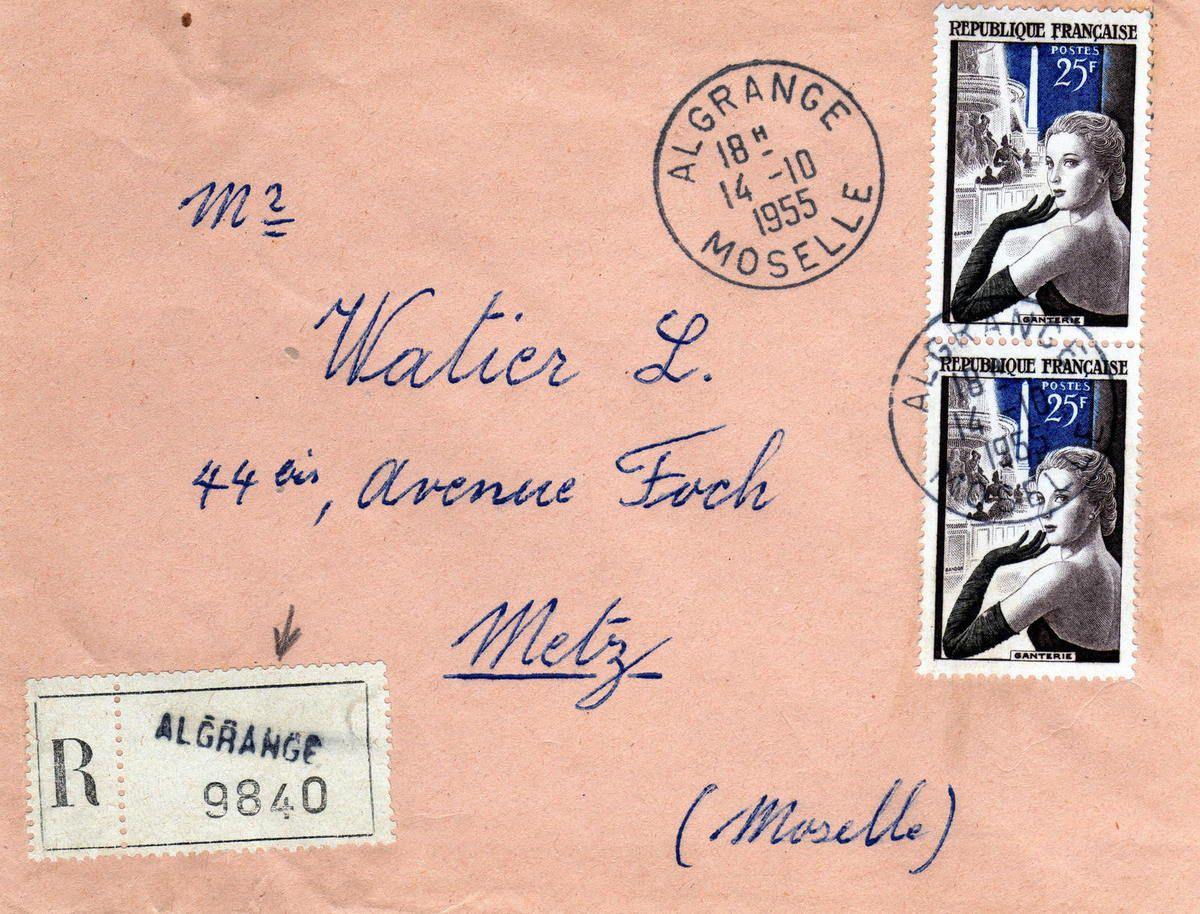 Lettre datée du 14 octobre 1955 en recommandée avec le papillon R et Algrange au tampon. le n° d'envoi 9840 est en petits chiffres