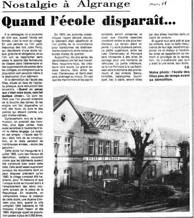 Article du Républicain Lorrain du 24 mars 1981
