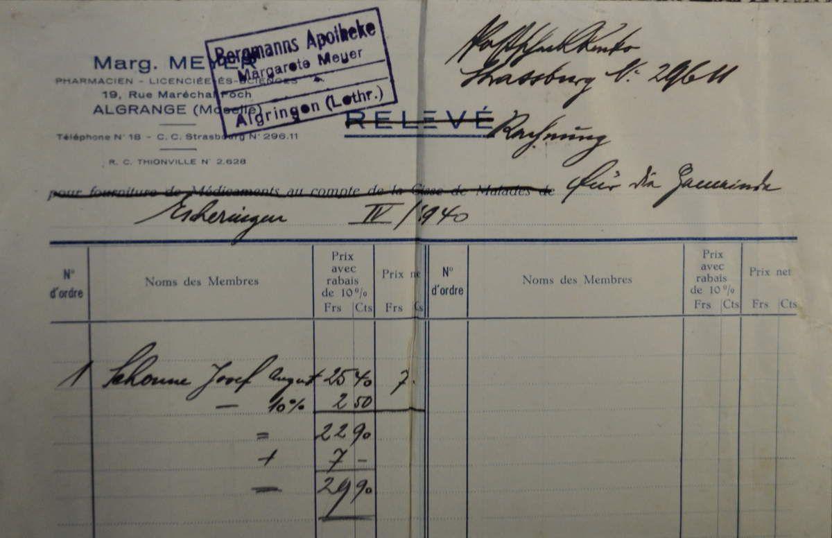 Facture de 1940 et courrier de 1941