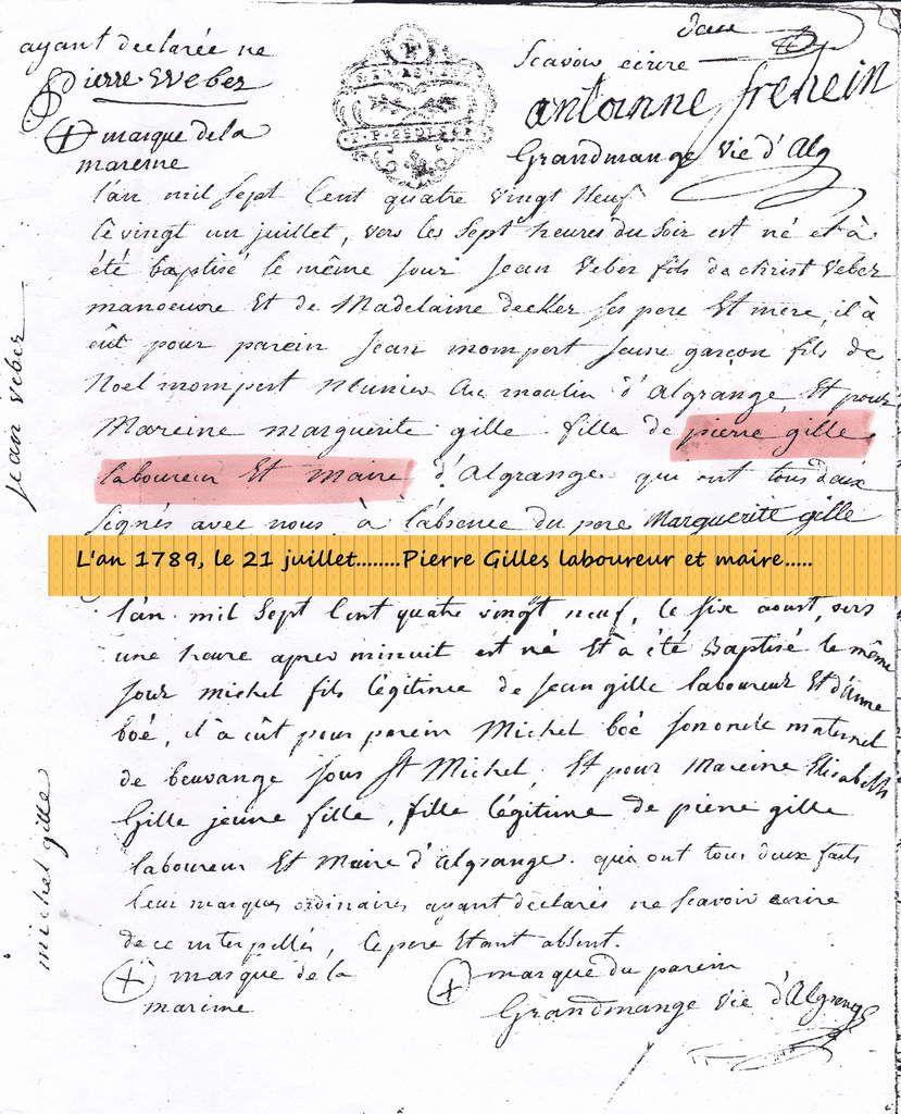 Le Conseil municipal d'Algrange de 1789 à l'annexion (1871)