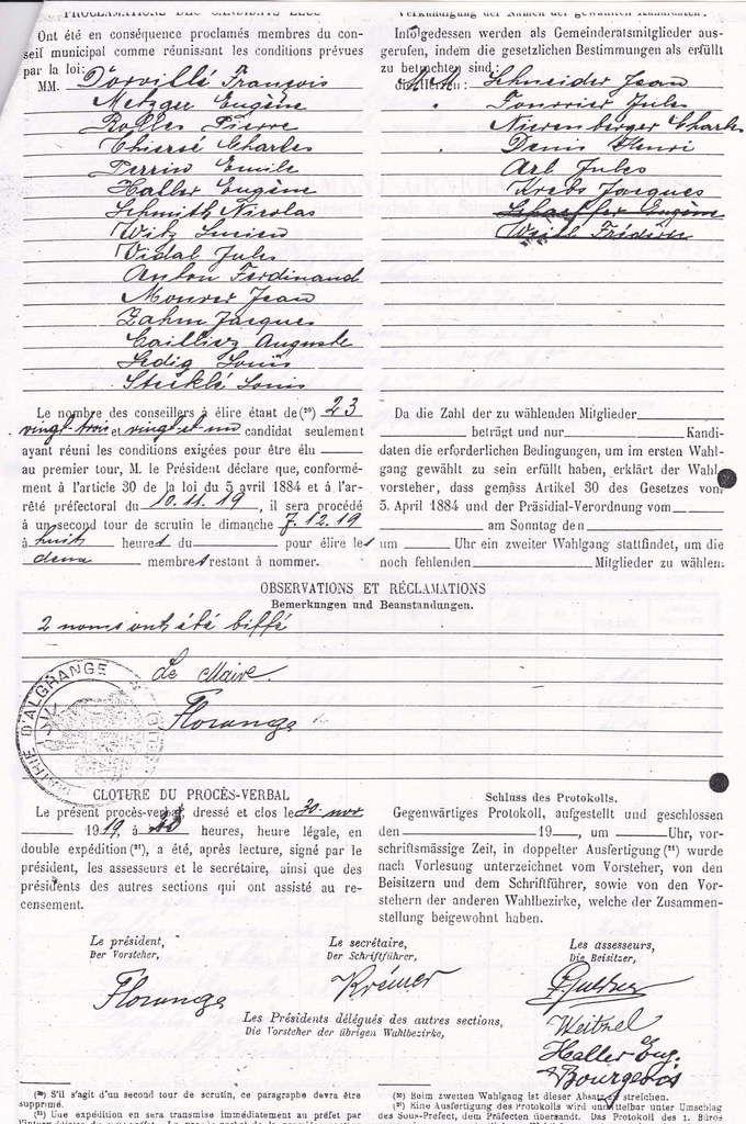 Les maires, les adjoints et les conseillers d'Algrange de 1918 à 1925.