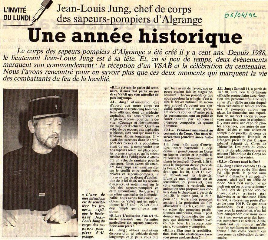 Article du R.L. du 5 - 6 et 11 avril 1992
