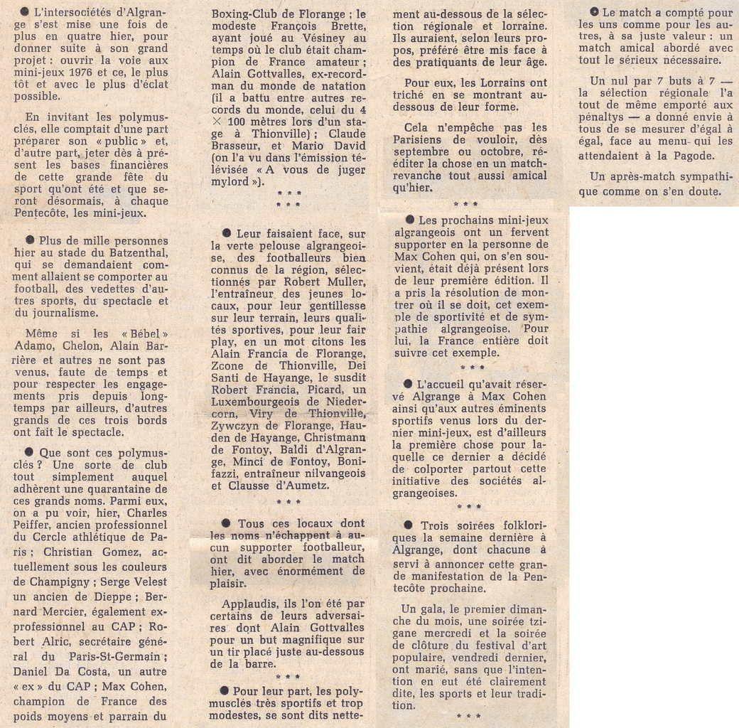 Le Football et les Mini-jeux en 1975 à Algrange font recette