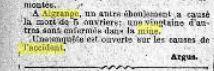 A Algrange, un éboulement est survenu dans une mine des aciéries Rhénanes et a causé la mort de 5 ouvriers. Une vingtaine d'autres, sont enfermés dans la mine. Une enquête est ouverte sur les causes de l'accident....