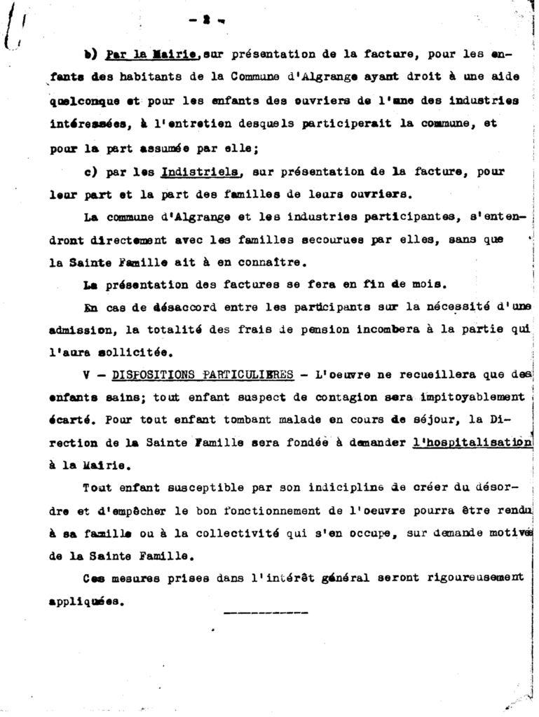 Permanence de Secours à la Maison de la Ste. Famille à Algrange en 1929