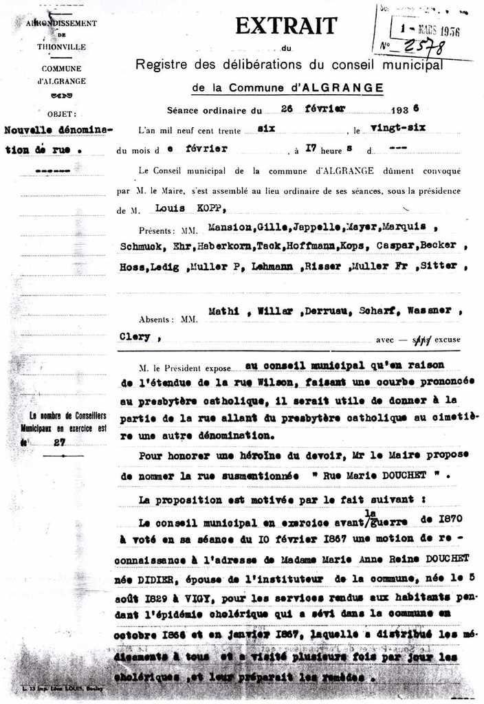 Délibération du C.M. d'Algrange le 26 février 1936..