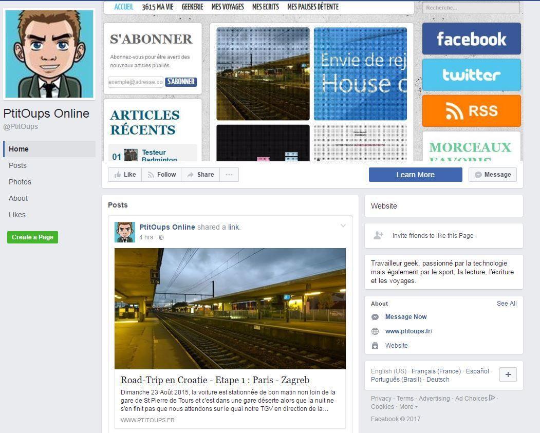Nouveauté : ma page Facebook !!!