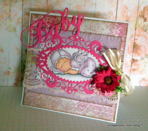 Carte magnolia naissance:bébé Tilda