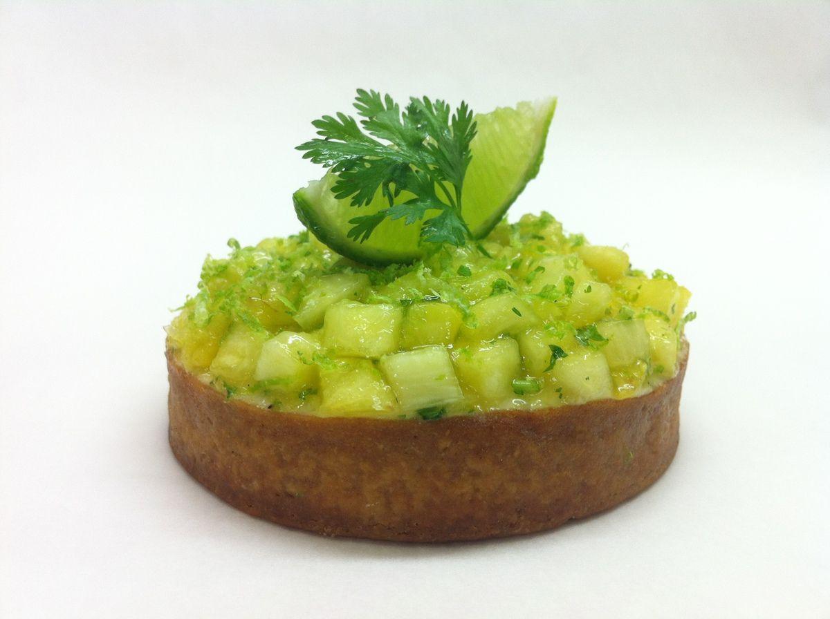 Tartelette Citron vert ananas coriandre