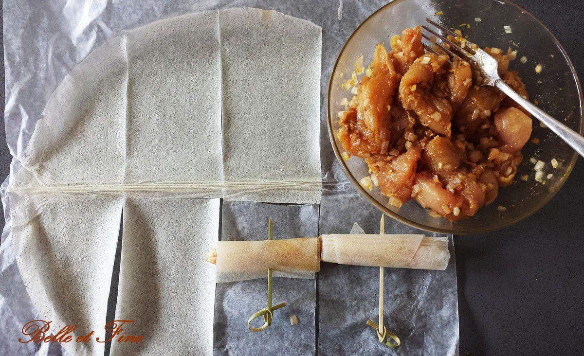 Bricks de poulet mariné et ses légumes croquants