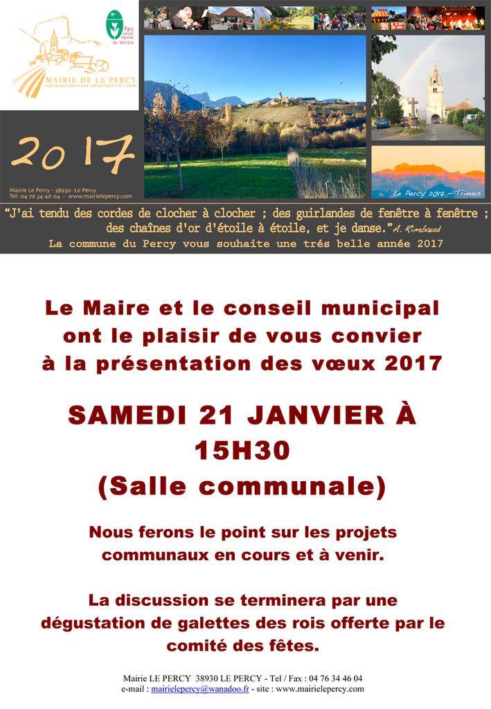 VOEUX DE LA COMMUNE DU PERCY: SAMEDI 21 JANVIER 2017 - 15H30