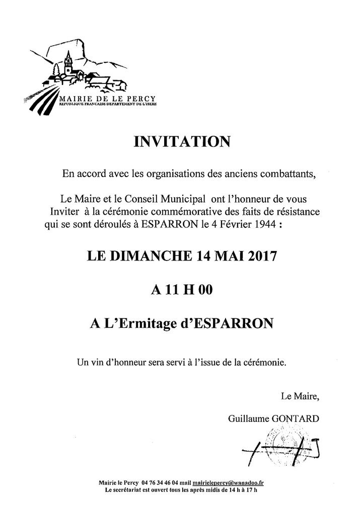 Commemoration Esparron: 14 mai - 11h00