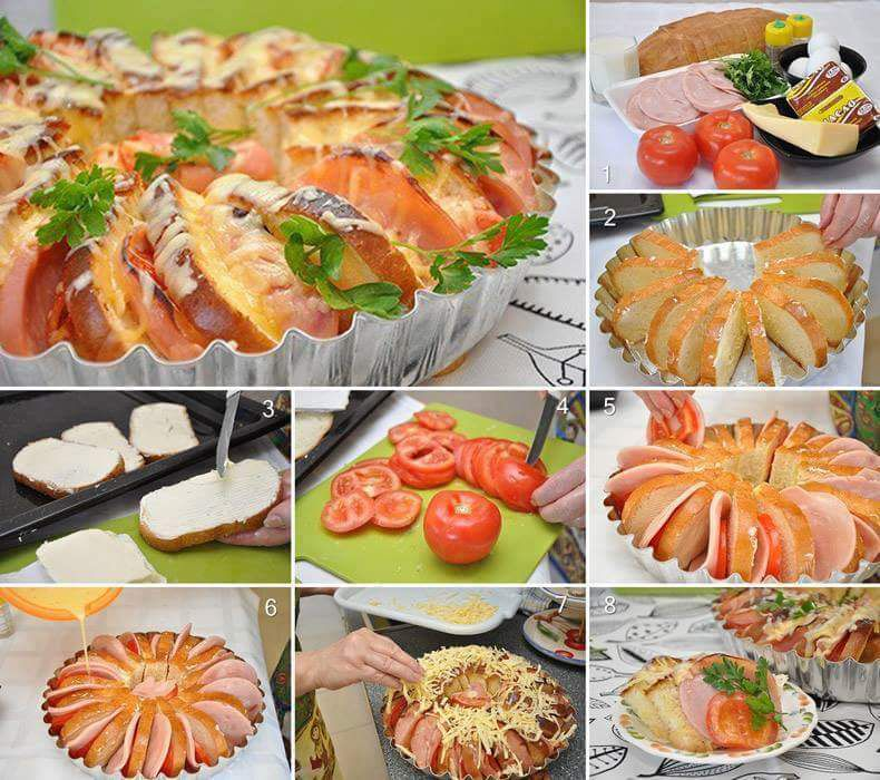 Pain perdu jambon, fromage, tomate