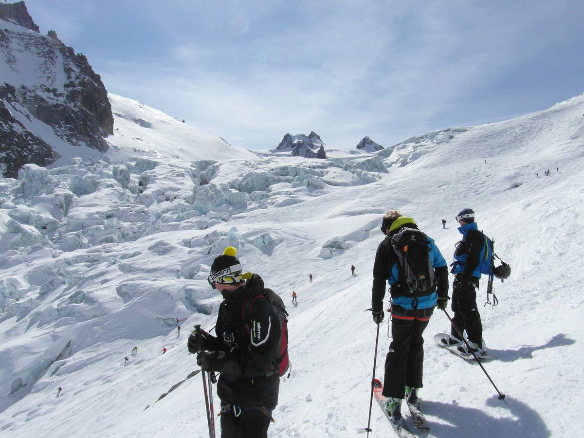 Descente via le glacier du Géant
