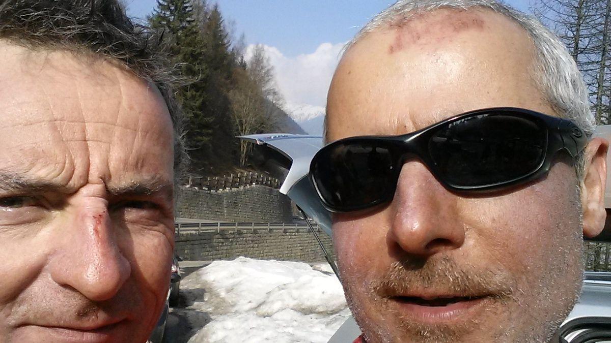 Le ski, ça reste un sport dangereux: voir le nez de Grillon et mon front !!