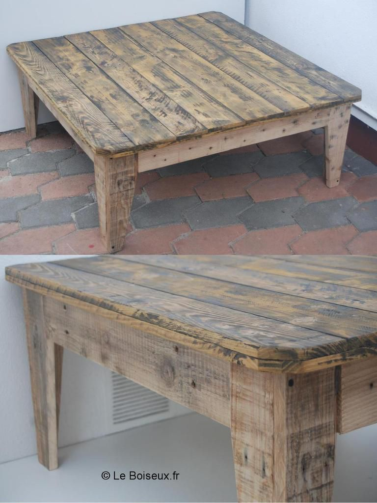 Table basse en bois de grange for Table basse vieux bois