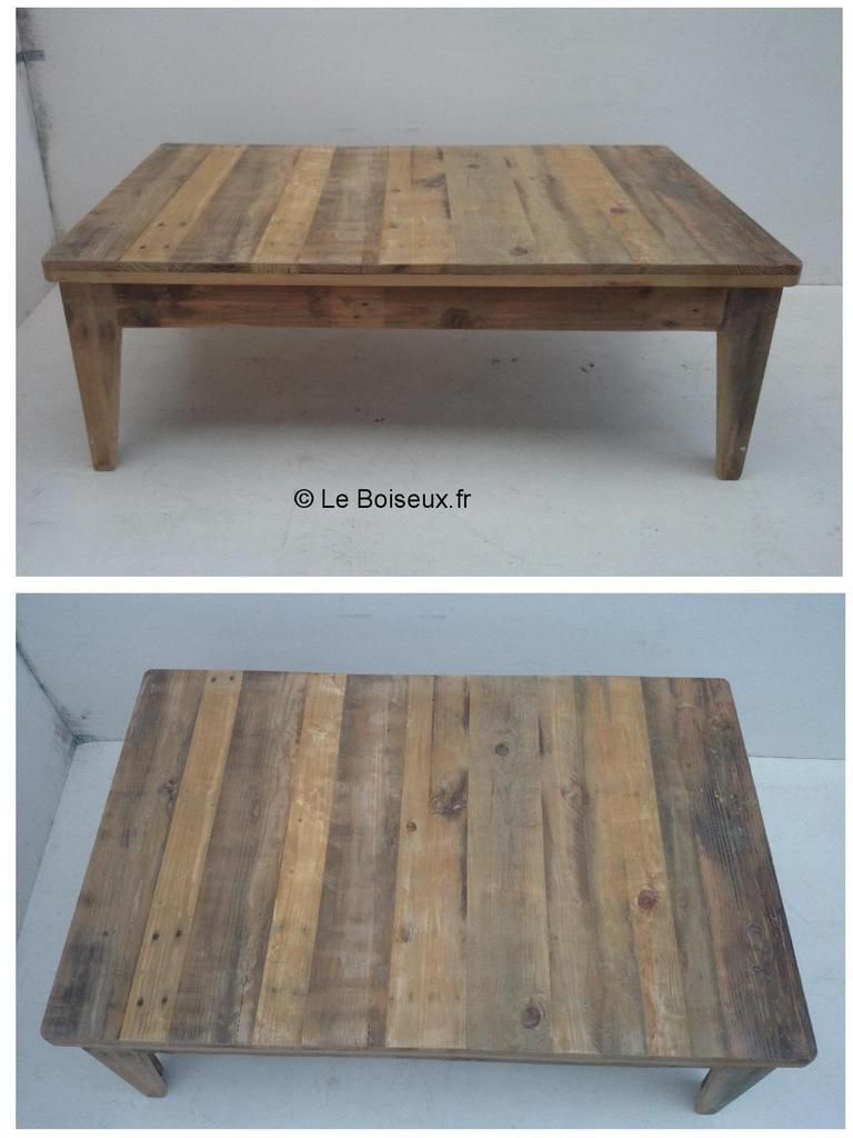 Table de salon ch ne de r cup ration plateaux de for Salon en palette de bois