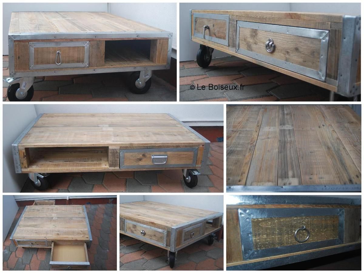Table basse palette m taux roulettes tables de restaurants en bois recycl sur mesure - Table de salon en palette ...
