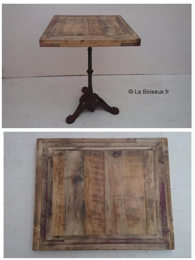 Table bistrot artisanale bois r cup r plateaux de for Grand plateau de table