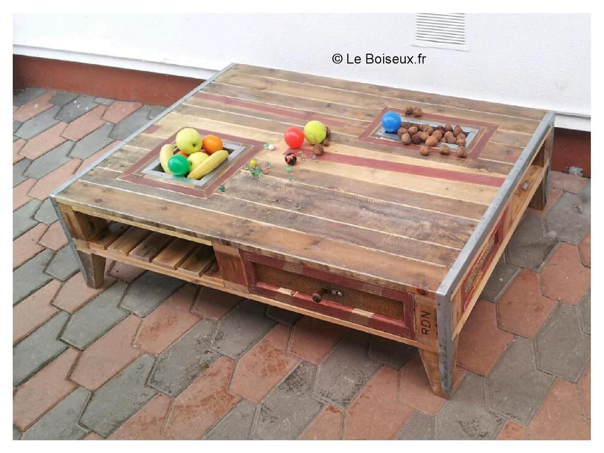 Grande table basse palette corbeilles fruits tiroirs - Pied de table basse en bois ...