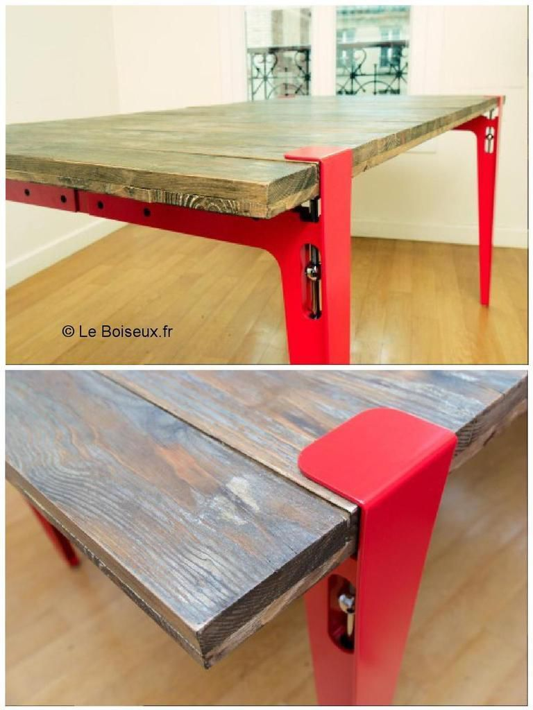 La table en bois recycl de christophe meubles et d co for Table un pied