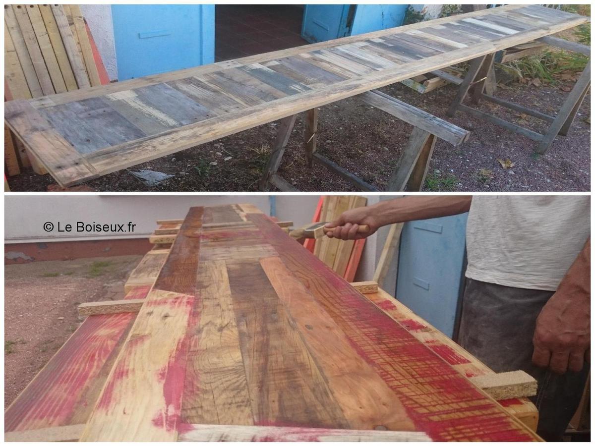 Pistes de bar en bois recyclé en cours de traitement