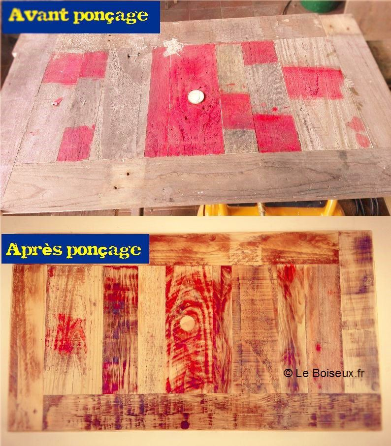 Tout au long de la fabrication d'un meuble, les couleurs en surface disparaissent peu à peu, celles incrustées dans les anfractuosités du bois persistent.