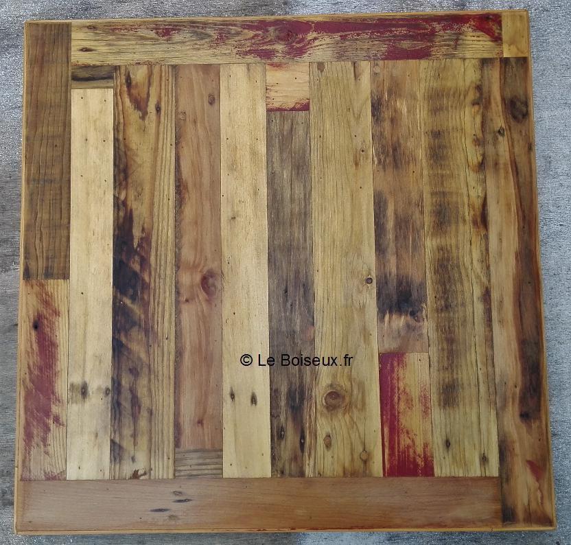 Plateau bois de palettes 70 x 70 cm