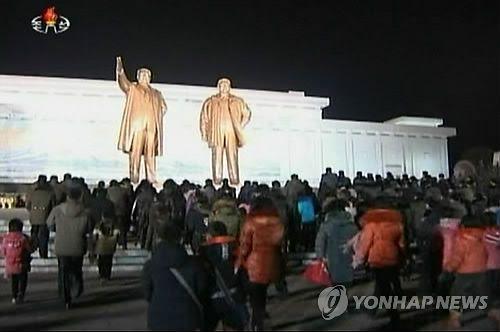 Rassemblement en hommage à Kim Jong-il, le 17 décembre 2014 à Pyongyang