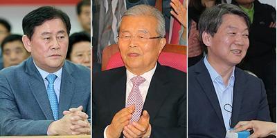De gauche à droite, Choi Kyung-hwan (Parti Saenuri), Kim Chong-in (Parti Minjoo) et Ahn Cheol-soo (Parti du Peuple).