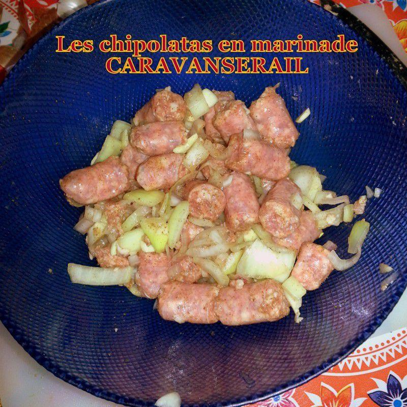 Crevettes au four à l'ail/ Brochettes de magret de canard/ brochettes de chipolatas en marinade