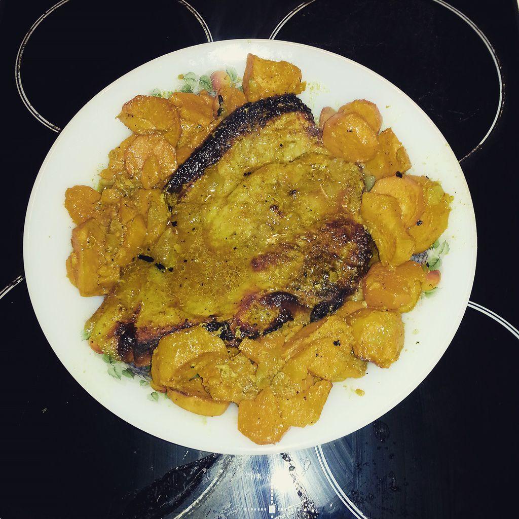 Longe de porc au miel et aux épices colombo et ses patates douces
