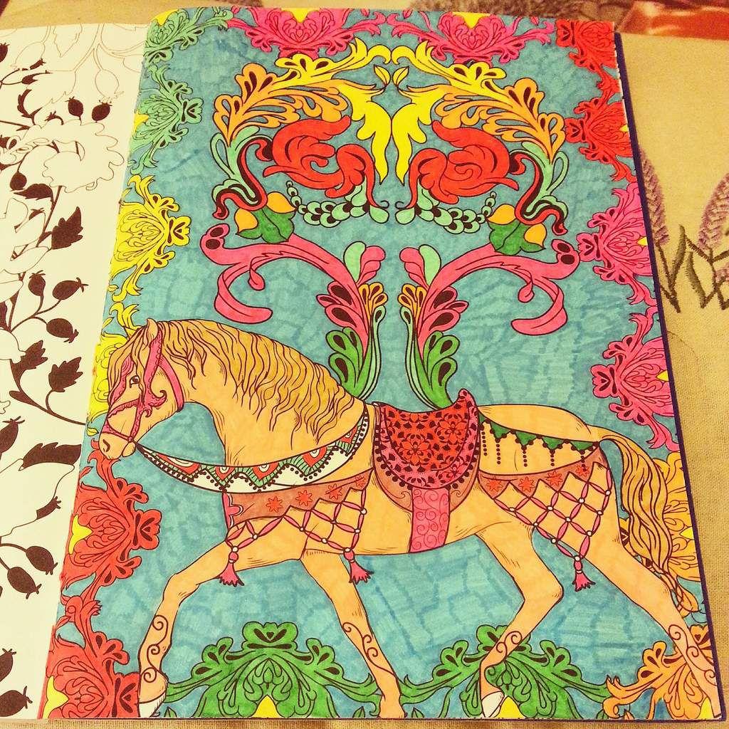 Mon cheval mi-boho/ mi- médiéval. J'ai adoré le colorier-notamment la selle et la bride,et je l'ai terminé en une journée. En quelques heures quoi!