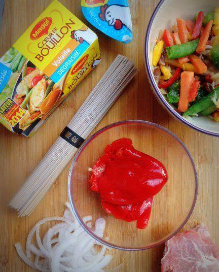 Wok aux légumes et porc #Maggi