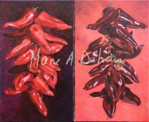 Piments - 2 x 30x50 - Huiles sur toile
