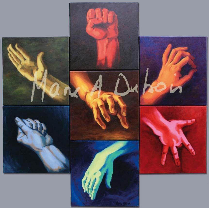Les 7 péchés capitaux - 7 x 30x30 - Huiles sur toile