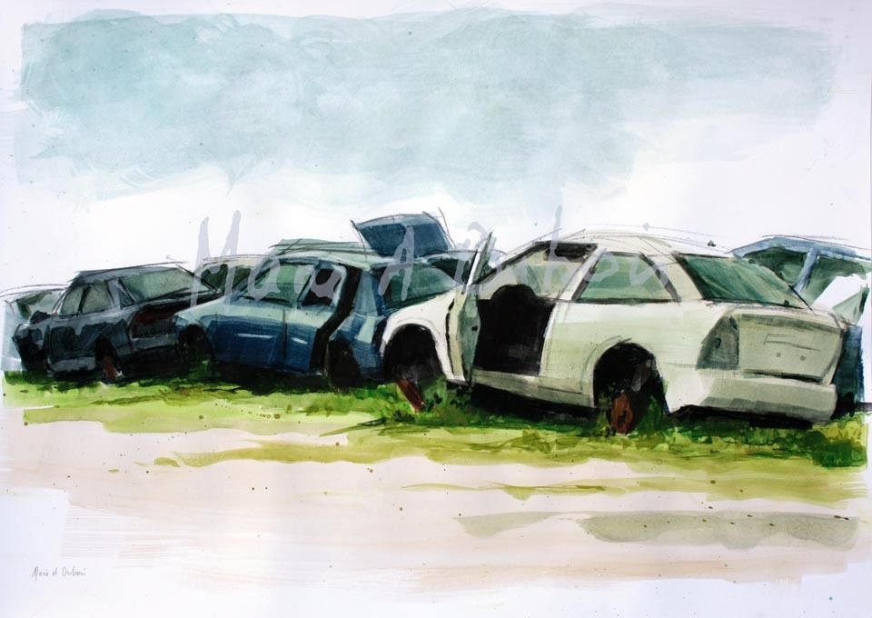 Traffic Jam - 50x60 - Aquarelle et fusain