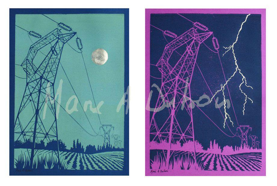 Jour électrique - Nuit électrique - 2 x A4 - Linogravure et dorure à la feuille