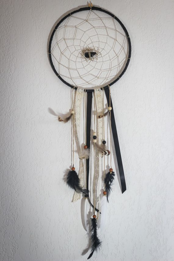 Dreamcatcher fait main, ruban, plume, décoration murale