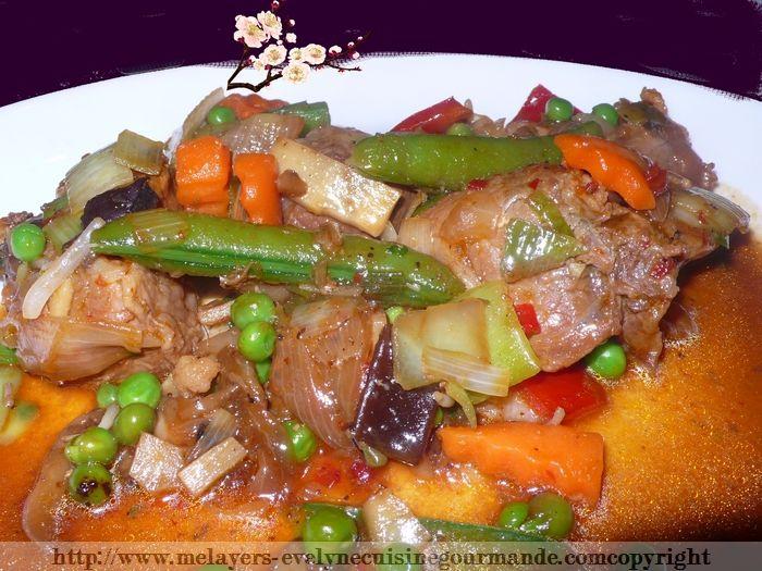 Sauté de porc à la sauce szechuan aux  petits légumes