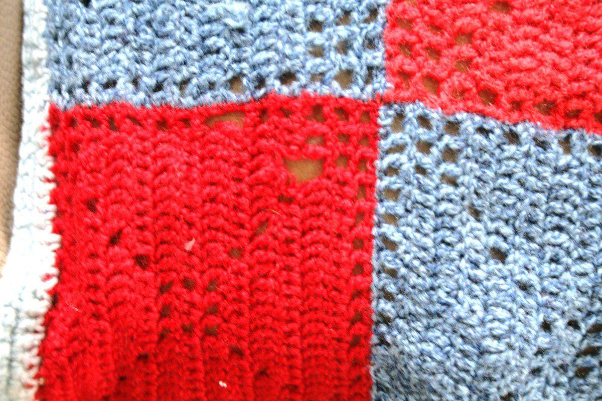 Grande couverture au crochet Années 70 - Vintage C24