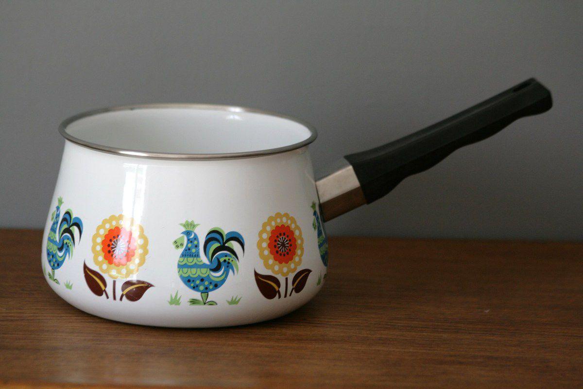 Casserole en métal émaillée décor coq Années 70 - Vintage