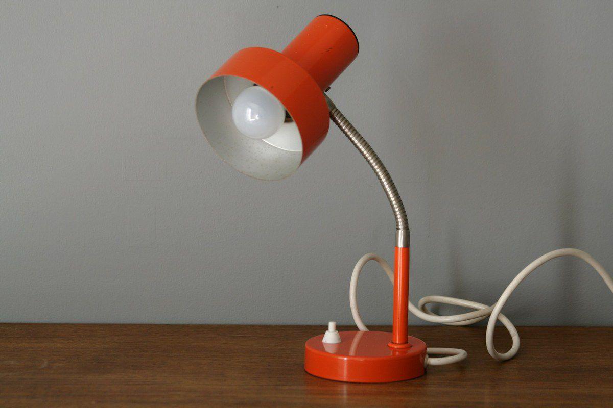 Lampe métal orange Années 70 - Vintage