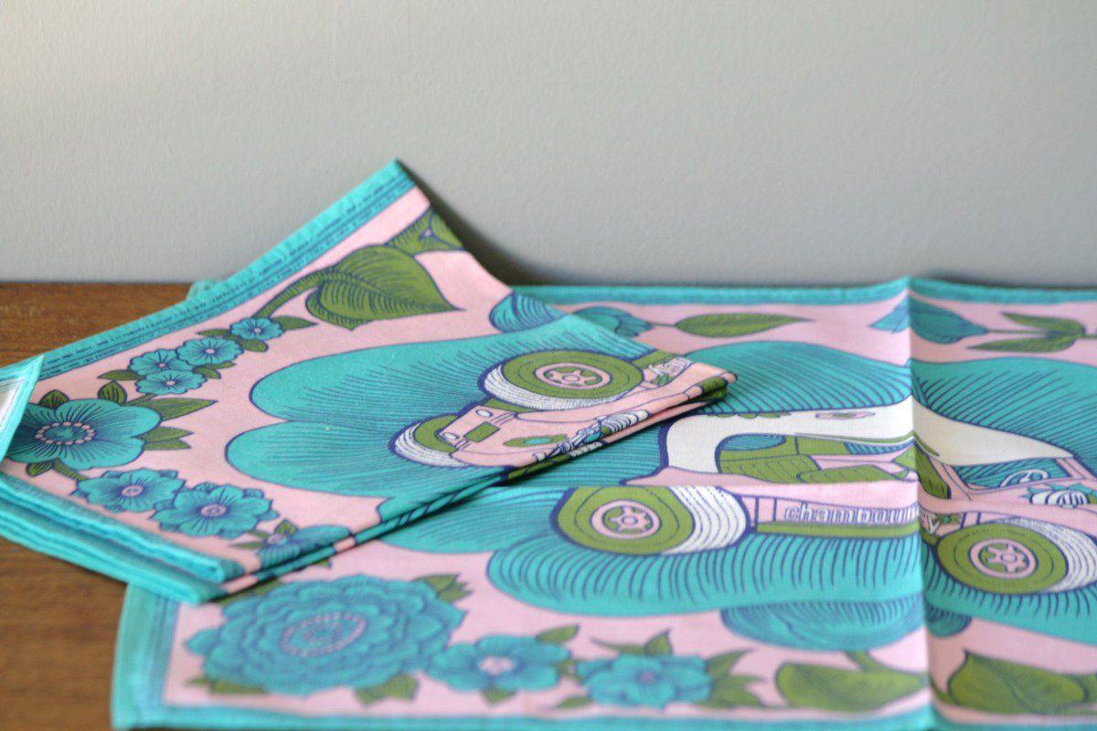 Lot de 5 serviettes de table Chambourcy Années 70 - Vintage